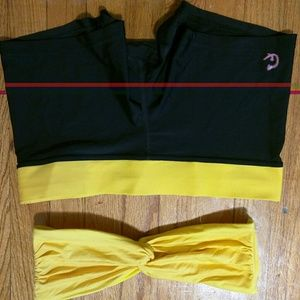 Cheval Rouge Sz L 2 piece Made in USA black yellow